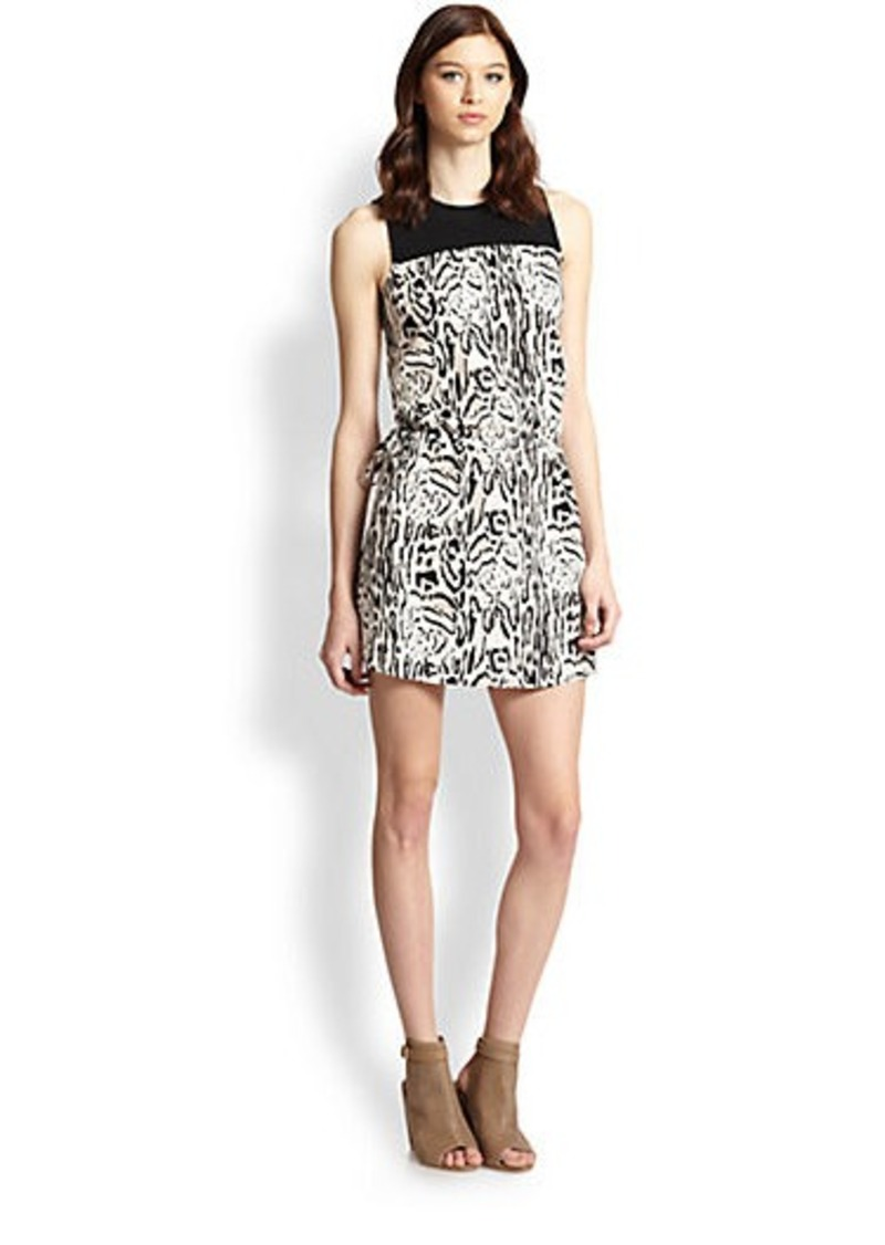 Joie Floreal Silk Animal-Print Dress