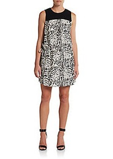 Joie Floreal Silk Leopard-Print Dress
