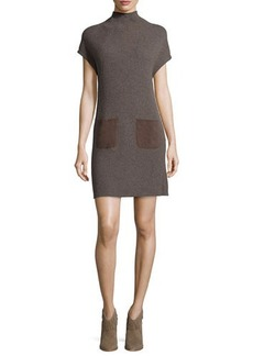 Joie Geinat Ribbed Dress with Suede Trim  Geinat Ribbed Dress with Suede Trim