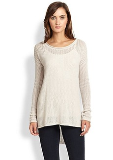Joie Gussie Wool & Cashmere Open-Knit Hi-Lo Sweater