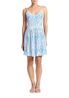 Joie Hudette Silk Printed Cutout Dress