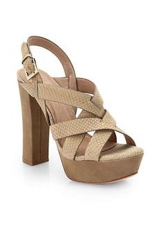 Joie Inex Snakeskin-Embossed Leather Platform Sandals