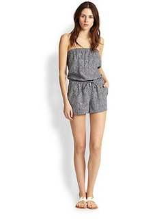 Joie Jaliano Feather-Printed Strapless Short Jumpsuit