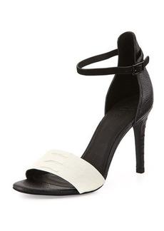 Joie Janice Leather Ankle-Wrap Sandal, Black/Porcelain