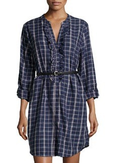 Joie Jessalyn Plaid Ruffle-Trim Shirtdress, Dark Navy