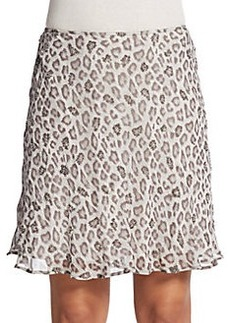 Joie Johari Beaded Animal-Print Silk Skirt