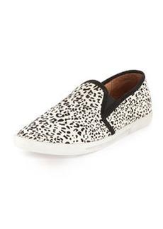 Joie Kidmore Leopard-Print Calf-Hair Slip-On, Black/White