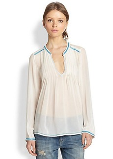 Joie Kosame Silk Crepe Pintuck-Pleated Blouse