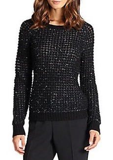 Joie Kyleen Metallic-Weave Popcorn-Knit Sweater