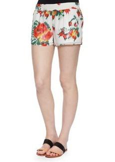 Joie Lanina Floral Ikat-Printed Shorts, Porcelain