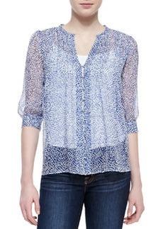 Joie Lauren Printed-Silk 3/4-Sleeve Blouse