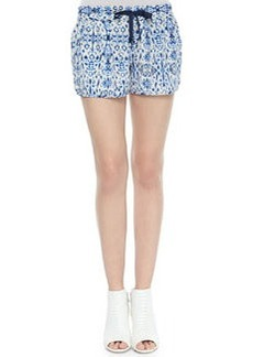Joie Layana Drawstring Printed Silk Shorts
