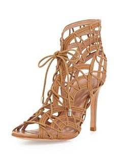 Joie Leah Lattice Lace-Up Sandal, Cuio