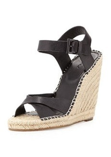 Joie Lena Leather Espadrille Wedge, Black