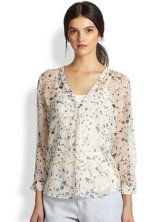 Joie Lerona Floral-Printed Silk Blouse