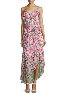 Joie Lili Asymmetric Floral Silk Maxi Dress