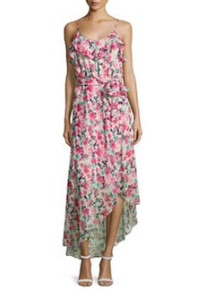 Joie Lili Asymmetric Floral Silk Maxi Dress, Porcelain/Multicolor