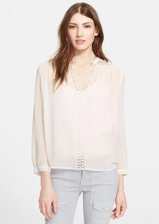 Joie 'Lilura' Crochet Inset Silk Top