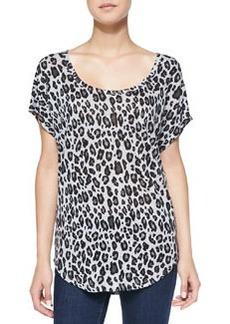 Joie Maddie Leopard-Print Slub Linen Top