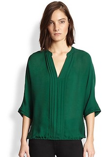 Joie Marru Pintuck-Pleated Silk Blouse