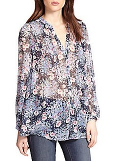 Joie Martine Sheer Silk Floral-Print Blouse