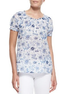 Joie Masha Floral-Print Short-Sleeve Top