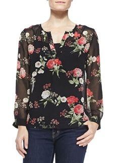 Joie Maurelle Floral-Print Silk Blouse
