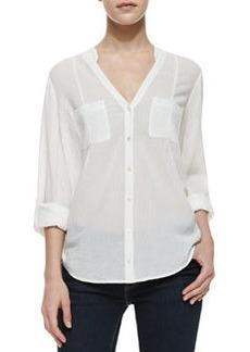 Joie Maurie Crepe-Cotton V-Neck Shirt