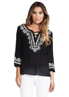 Joie Melenia Embroidered Blouse in Black