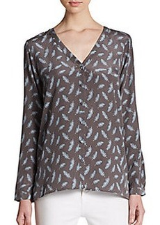 Joie Michi Feather-Print Silk Top