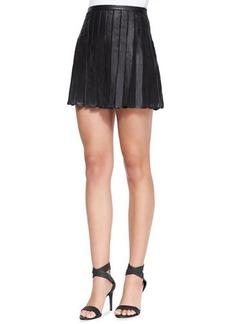Joie Morowa Pleated Leather A-Line Skirt
