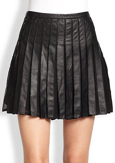 Joie Morowa Silk-Insert Pleated Leather Skirt
