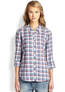 Joie Moshina Plaid Cotton Blouse