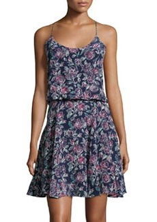 Joie Nanon Floral Silk Racerback Dress, Dark Navy/Multicolor