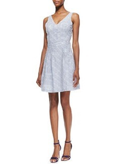 Joie Neilah Grid-Print Open-Back Cotton Dress, Porcelain