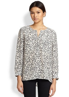 Joie Nepal Leopard-Print Silk Blouse