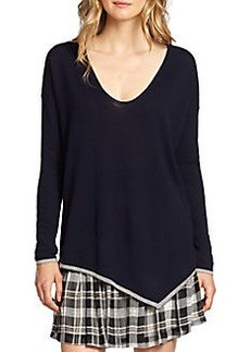 Joie Niami Contrast-Trimmed Asymmetrical Sweater