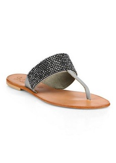 Joie Nice Jeweled Leather Thong Sandals
