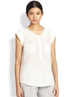 Joie Nicoline Silk Cap-Sleeve Blouse