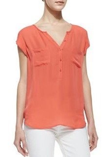 Joie Nicoline Silk Short-Sleeve Top