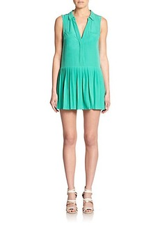 Joie Nila Pleated Silk Shift Dress