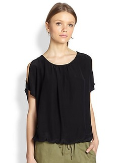 Joie Nimah Silk Cutout-Shoulder Blouse