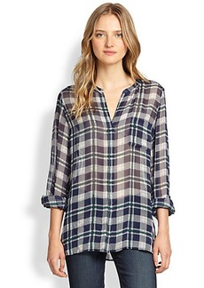 Joie Nura Sheer Plaid Silk Blouse