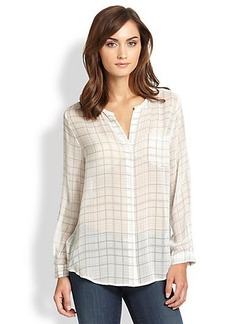 Joie Nyree Sheer Silk Plaid Blouse