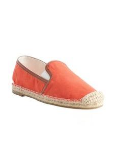 Joie orange canvas 'Adrien' raffia embellished loafers