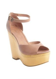 Joie peach leather 'Blair' wedge sandals