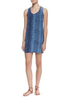 Joie Peri B. Silk Snake-Print Scoop-Neck Dress