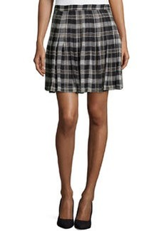 Joie Plaid High-Waist Silk Skirt, Caviar/Fawn
