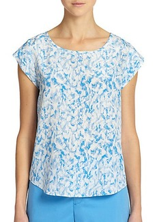 Joie Rancher Feather-Print Silk Top