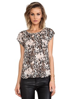 Joie Rancher Leopard Print Silk Tee in Black